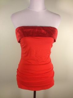 BEBE @bebe_Stores Red Stretch Silk & Rayon Tube Top Sz M Sleeveless Strapless Sexy Summer $20.99 #dodiesdoodads #bebe #budgetfashion #designerdeals