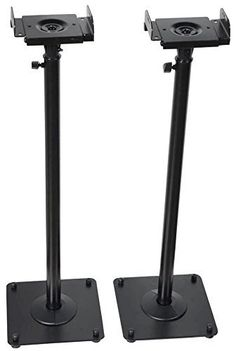 VideoSecu 2 Adjustable Steel Speaker Stands Universal Floor For Front Or Rear Surround Sound Speakers