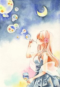 anime, bubbles, and stars image