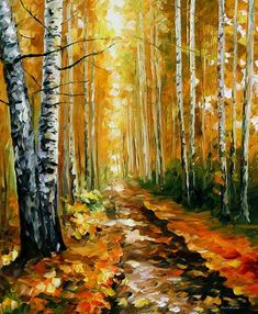 This is an oil painting on canvas by Leonid Afremov made using a palette knife only. You can view and purchase this painting here -afremov.com/AUTUMN-BIRCHES-PAL… Use 15% discount coup...