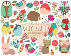 Woodland Clipart  Cute Forest Animal Clip Art  by KennaSatoDesigns