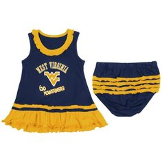 67fcf2491 Girls Infant West Virginia Mountaineers Navy Blue Coda Ruffle Tank Dress