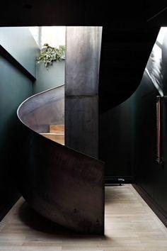 Parisian Loft by Studio Ko. Staircase to work in smaller area? Interior Stairs, Interior Architecture, Interior And Exterior, Interior Design, Interior Styling, Interior Decorating, Spiral Staircase, Staircase Design, Stair Design