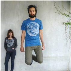 Organic cotton mens tshirt - S/M/L/XL - full moon screenprint on American Apparel galaxy blue - fall fashion - gift for him. $27.00, via Blackbirdtees Etsy.