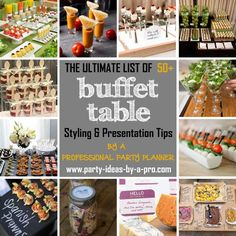 Buffet Table Ideas—Decorating & Styling Tips by a Pro Learn how to set up a buffet table / food station for parties, weddings, or entertaining at home—with food presentation, display, and styling tips by a professional party planner. Appetizer Buffet, Appetizers Table, Appetizers For Party, Appetizer Table Display, Buffet Set Up, Buffet Tables, Styling A Buffet, Food For Party Buffet, Buffet Pizza