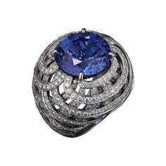 Cartier- Anello di Alta Gioielleria Platino, uno zaffiro rotondo (20,96 carati), brillanti