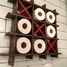 Toilet paper bathroom shelve. What a creative way to store your toiler paper! Add a little fun in your bathroom.