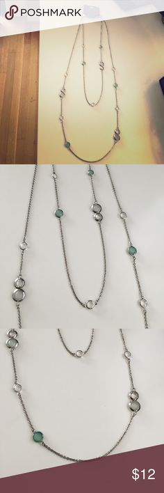 Beaded Express necklace Layered silver Express necklace with green and clear stone detailing. Never worn. Express Jewelry Necklaces