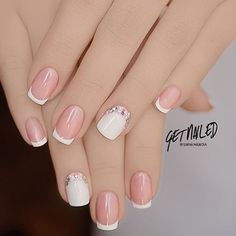 french nails for wedding Messy Buns Gorgeous Nails, Love Nails, Pretty Nails, My Nails, Shellac Nails, Manicures, Acrylic Nails, Nail Nail, Bridal Nails