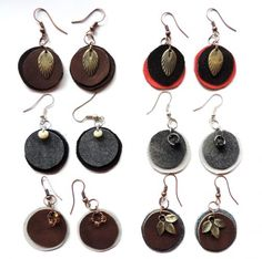 Set of three pairs of round leather earrings with tiny charms, mismatched combo fun, jewelry for her, natural earth colors, genuine leather Metal Hangers, Jewelry Crafts, Etsy Jewelry, Leather Pieces, Jewelry For Her, Leather Earrings, Natural Leather, Glass Beads, Dangles