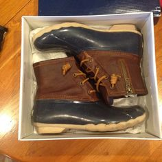 Sperry Saltwater Duck Boot Sperry Topsider Saltwater Duck Boot.  Worn once and come in original box.  Great for fall, winter, and spring! Feel free to make an offer!!! Sperry Top-Sider Shoes Winter & Rain Boots