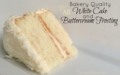 Cake How to make a wonderful white cake with buttercream frosting that tastes like it came from a bakery!How to make a wonderful white cake with buttercream frosting that tastes like it came from a bakery! Frosting Recipes, Cake Recipes, Dessert Recipes, Dessert Ideas, Cake Icing, Buttercream Frosting, White Buttercream, Easy White Cake Recipe, Bakery Quality White Cake Recipe