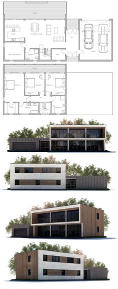 House Plans in Modern Architecture. Dream Home Design, House Design, Flat Roof House, Villa Plan, Property Design, House Blueprints, Sims House, Dream House Plans, Architecture Plan