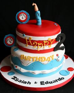 Thing 1 and Thing 2 Cake by creative and delicious sweets (Sandy), via Flickr