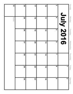 Calendar of July 2016 Printable