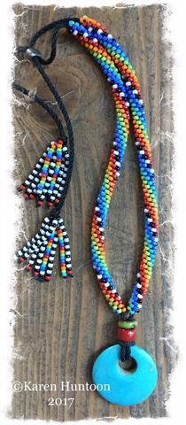 ***Beaded Necklace with Elongated Swirl, Turquoise Pendant & Adjustable Closure