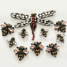 Dragonfly Bee Beaded Patch Applique Clothing Headdress Shoes Diy Craft Sew On