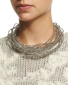 Multi-Strand Beaded Choker Necklace, Quartz by Brunello Cucinelli at Neiman Marcus.