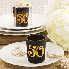50th golden anniversary black glass votive holder with gold rhinestones. As low as $1.79 each.
