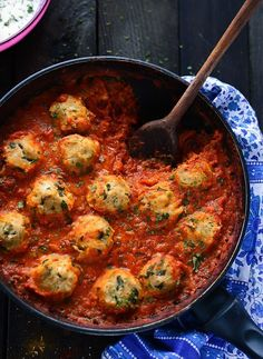 Chickpea Dumplings in Spiced Tomato Sauce