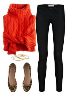 Chunky orange sweater,  black skinnys, leopard flats with dainty gold accessories