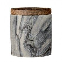 BLOOMINGVILLE Marble Grey Jar with Mango Wood Lid --- Beautiful, convenient sized jar made of grey marble and Mango wood lid.Size: D 9 cm x H 10 cmDesigned in Denmark by Bloomingville