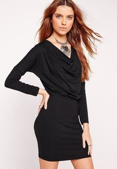Missguided - Long Sleeve Cowl Batwing Bodycon Dress Black