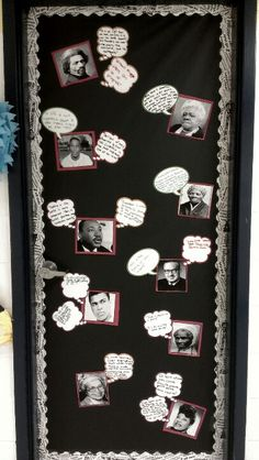 Black History Month classroom door bulletin board idea. Quotes.