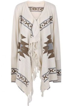 Apricot Long Sleeve Geometric Pattern Tassel Cardigan pictures