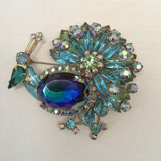 D and E Juliana Blue Teal Peacock Pin Stunning by AtomicKatz