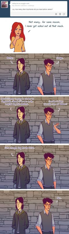 No One Ever Asked Out Lily Potter Why No One Ever Asked Out Lily Potter - I have no doubt this happened.Why No One Ever Asked Out Lily Potter - I have no doubt this happened. Harry Potter Comics, Harry Potter Jokes, Harry Potter Fandom, Harry Potter Couples, Harry Potter Imagines, Lily Potter, Lilly And James Potter, Lily Evans Potter, Hogwarts