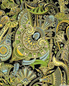 Lotus fans - Leaf green/gold