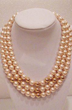 Vintage NAPIER Triple Strand Pearl & Gold Bead Necklace #Napier #StrandStringStatement