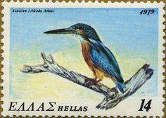 Stamps showing Common Kingfisher Alcedo atthis, with distribution map showing range Common Kingfisher, Wild Creatures, Goldfinch, 3 Arts, Stamp Collecting, Japanese Culture, Postage Stamps, Wildlife, Birds