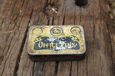 Vintage Office Pins Tin  Metal Tin  Small Tin Box  by NarMag