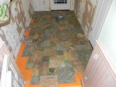 Here is the floor I put in.  Ceramic tile that looks like slate.