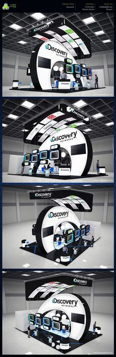 Interesting use of an overhead banner & video wall ~ Discovery exhibition booth design on Behance Design Stand, Trade Show Booth Design, Pop Design, Display Design, Stage Design, Exhibition Stall, Exhibition Booth Design, Exhibition Display, Exhibit Design
