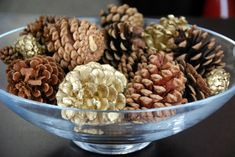 pinecones in glass bowl home decoration christmas holiday craft