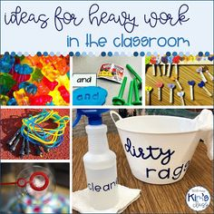 Heavy work has been used to help calm and stimulate students with sensory needs for years! You are probably already using some heavy wor. Gross Motor Activities, Work Activities, Sensory Activities, Sensory Play, Proprioceptive Activities, Autism Classroom, Preschool Classroom, Classroom Activities, Preschool Learning