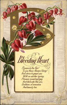 B (Bleeding Heart) Flowers Alphabet Letters