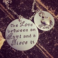 A personal favorite from my Etsy shop https://www.etsy.com/listing/227693339/aunt-niece-necklace-mother-daughter