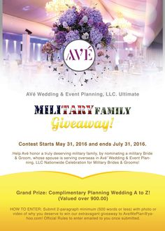 Military brides and grooms, enter to win a free wedding planning giveaway! Contest runs May 31-July 31, 2016. www.operationwearehere.com/wedding.html