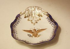 Export China Mottahedeh Co Diplomatic Service Eagle Feathers Rare 1910 Clam Dish #Mottahedeh
