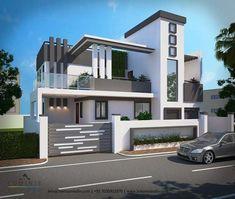 Modern style 3d bungalow elevation 2019 House Fence Design, Single Floor House Design, Duplex House Design, Modern House Design, Contemporary Architecture, Architecture Design, House Elevation, Front Elevation, Dream House Interior