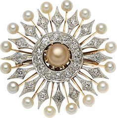 Antique Natural Pearl, Diamond, Platinum-Topped Pink Gold Brooch,Cartier.