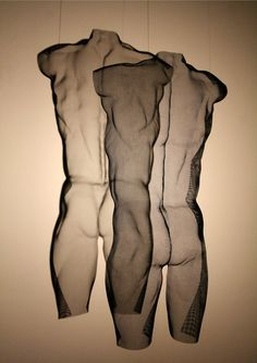 """A male back torso in woven steel mesh - Wire Art by David Begbie 2016. Title """"CYNW"""", unique, height 64cm."""