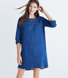 8 Cool Denim Dresses You'll Wear Through September via @WhoWhatWear
