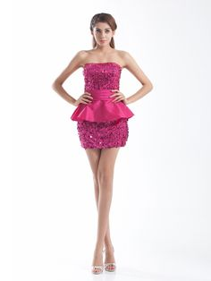 Taffeta Strapless Beading Sheath/Column Lace-up Party/Cocktail Dress at nextdress.co.uk