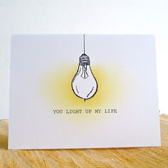 Your place to buy and sell all things handmade You Light Up My Life Card Valentine's Day Card Pun Love Birthday Card Drawing, Valentines Day Drawing, Valentine Day Cards, Funny Greeting Cards, Funny Cards, Paper Cards, Diy Cards, Pun Card, Cards For Boyfriend