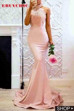 Pink Halter Neck Fishtail Wedding Bodycon Evening Dress is latest style for wedding. Pink Prom Dresses, Mermaid Evening Dresses, Evening Gowns, Maxi Dresses, Vestido Dress, Mermaid Bridesmaid Dresses, Elegant Bridesmaid Dresses, Ladies Dresses, Gown Dress